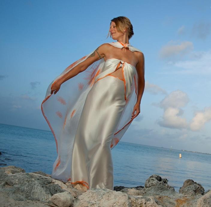 glamorous beach wedding sarong
