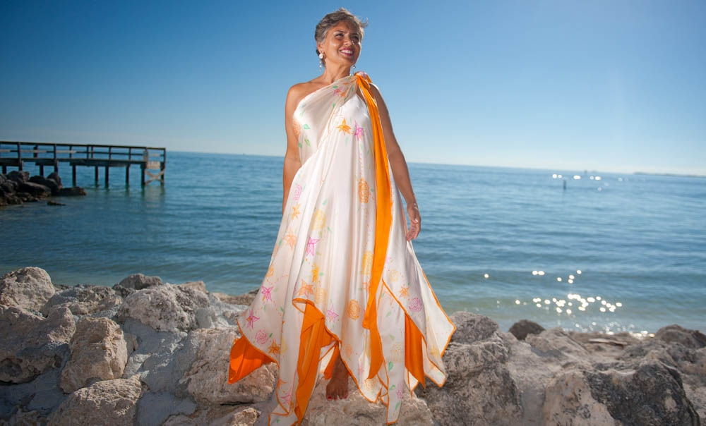 one-shouldered wedding dresses for beach locations