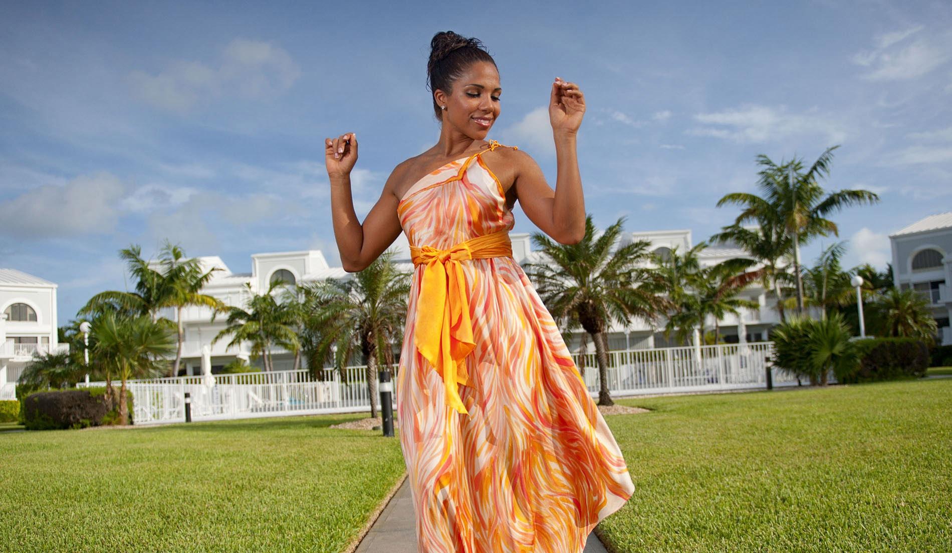 Flattering one shoulder beach wedding dress - Look Book for Aruba - Look 1 front