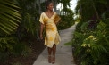 Sleek Silk Handkerchief Hemline Bridesmaid Destination Skirt Ensemble - Puerto Rico - Look 1 front