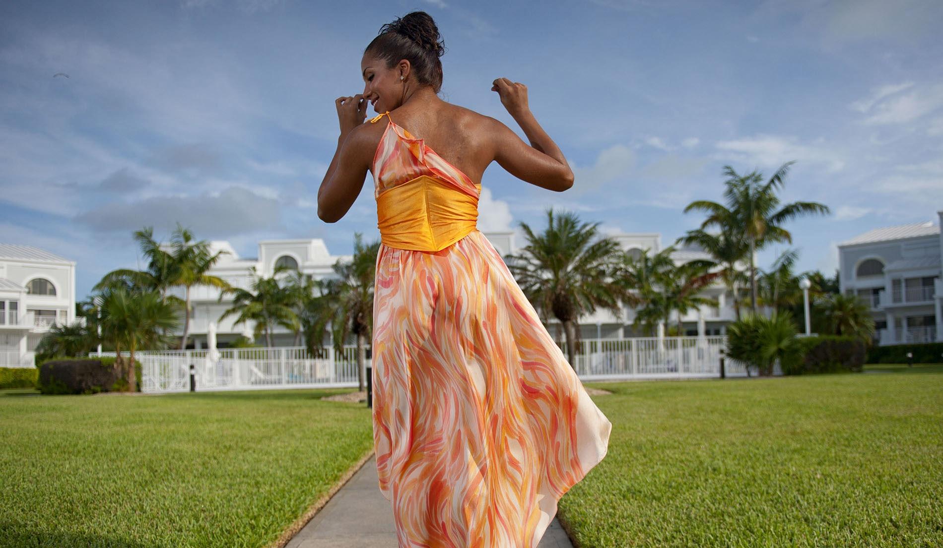 Flattering one shoulder beach wedding dress - Look Book for Aruba - Look 1 back