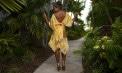 Sleek Silk Handkerchief Hemline Bridesmaid Destination Skirt Ensemble - Puerto Rico - Look 1 back