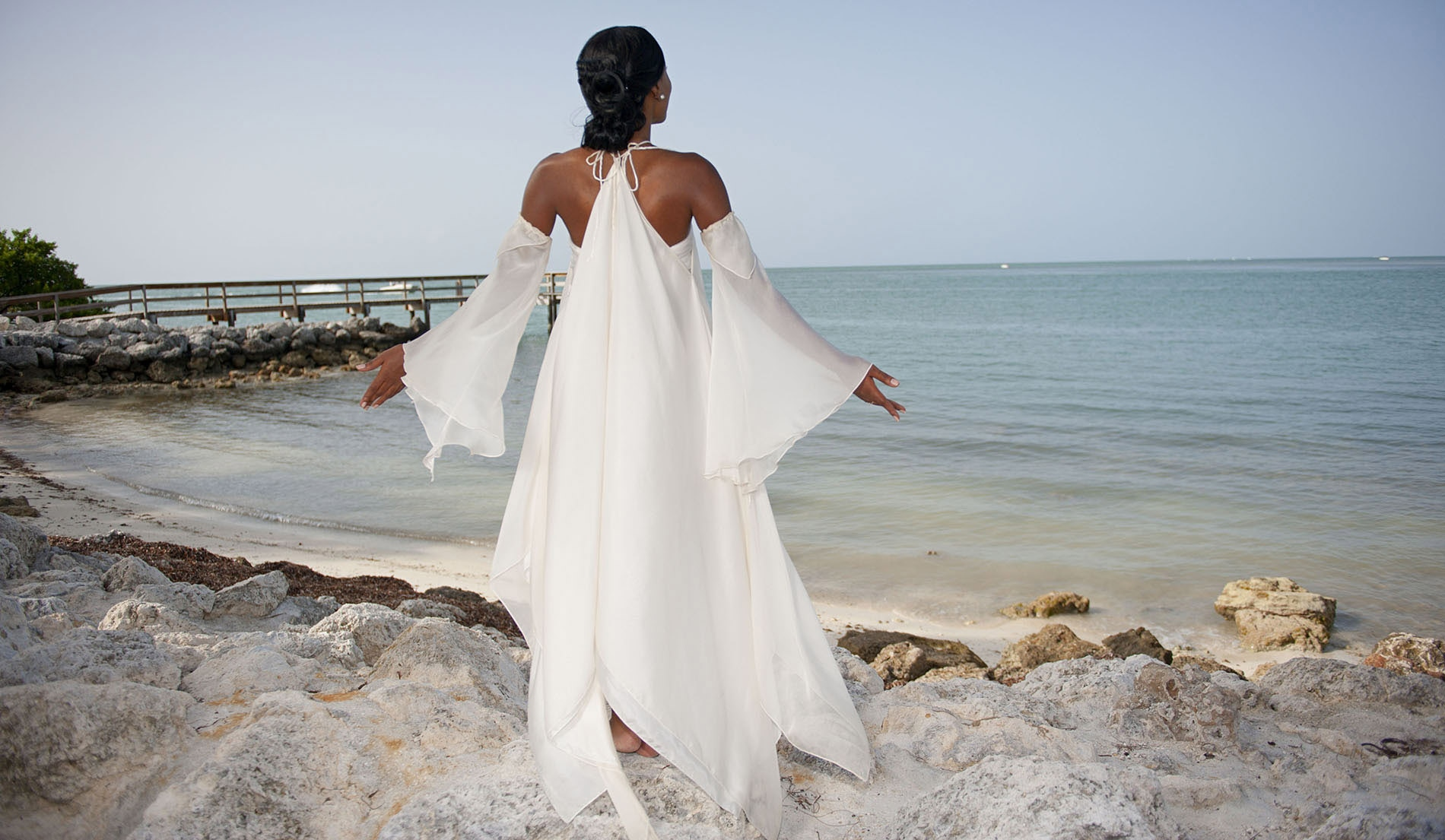Angelic Second Marriage Wedding Dresses Beach - Look 1 back