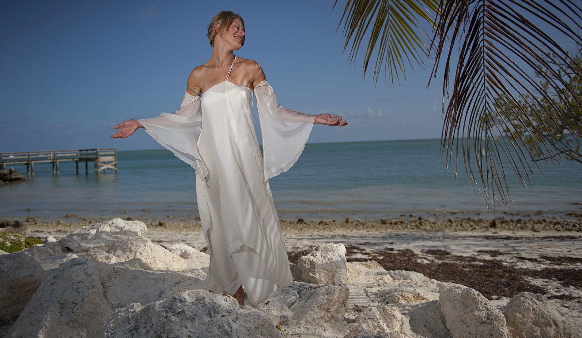 One Shouldered Second Marriage Wedding Dresses Beach - Look 2 Front