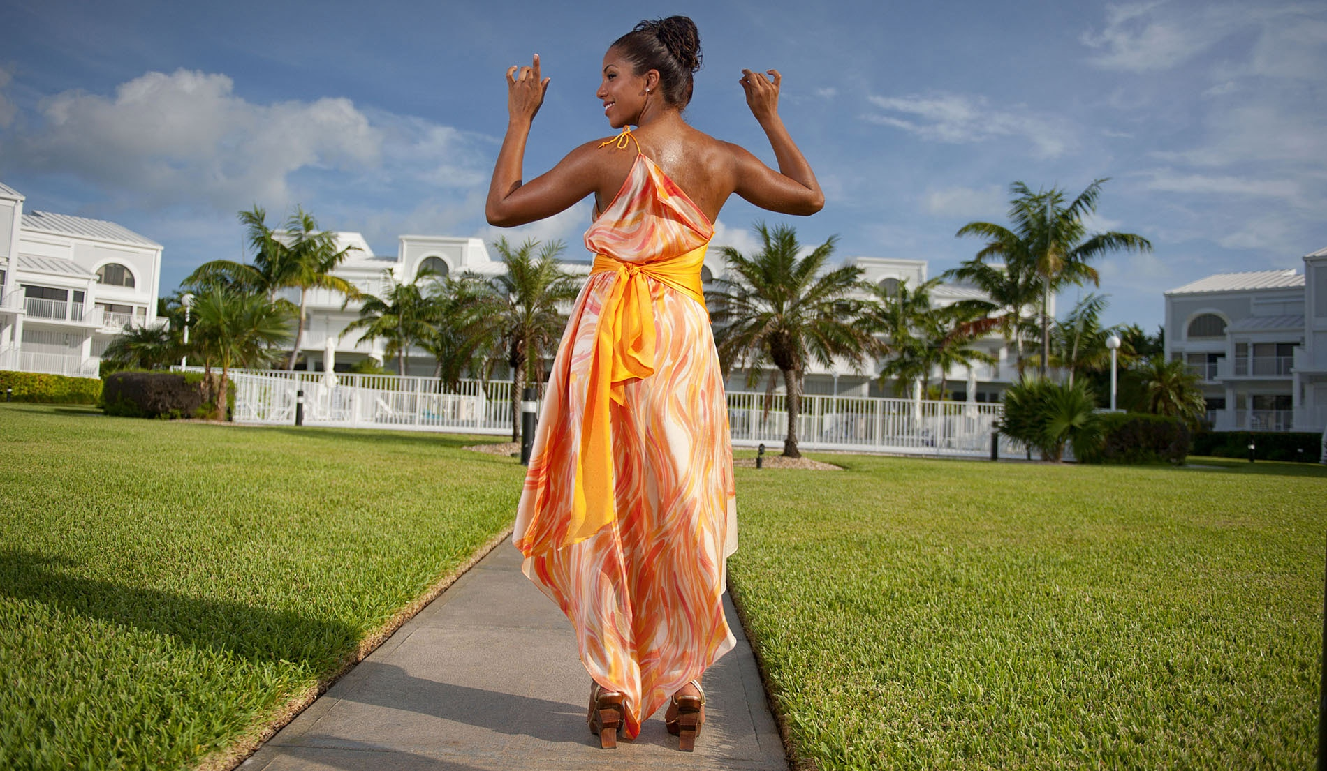 Asymmetric Waist one shoulder beach wedding dress - Look Book for Aruba - Look 2 back