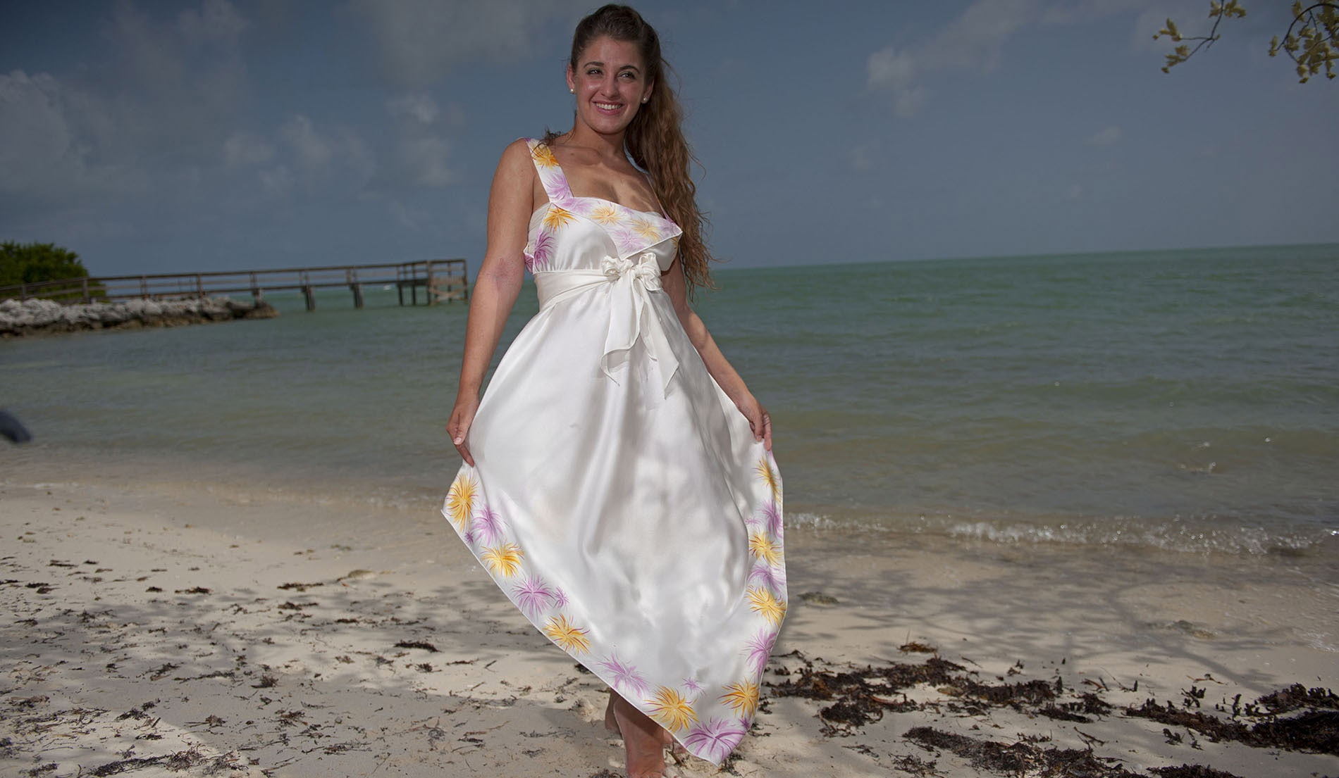d009274531 ... Square Neck Second Wedding Dresses Beach - look 3 front ...