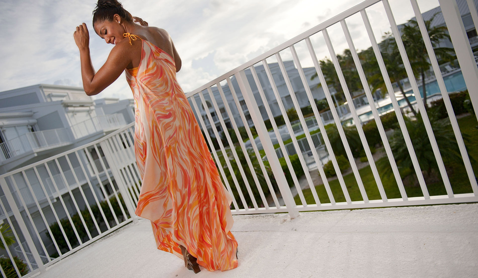 Free flowing one shoulder beach wedding dress - Look Book for Aruba - Look 3 back