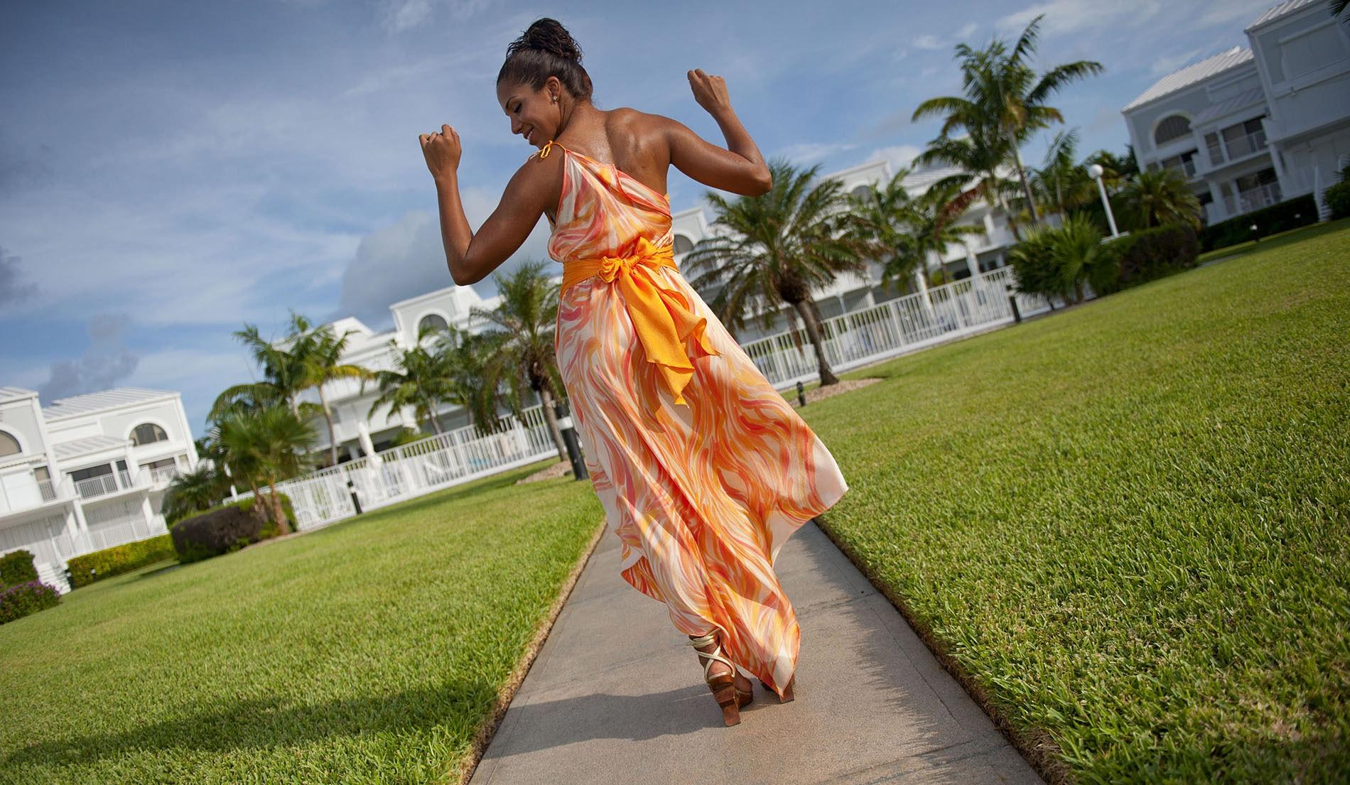 Natural waist one shoulder beach wedding dress - Look Book for Aruba - Look 4 front