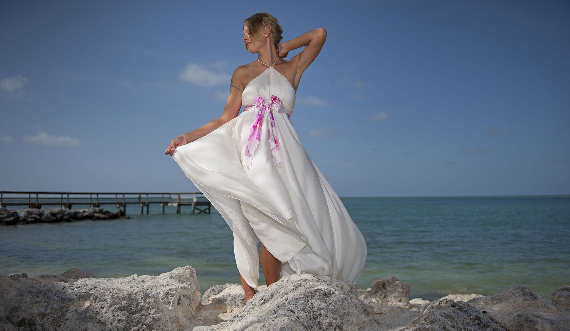 Empire Waist Custom Second Marriage Wedding Dresses Beach - Look 5 front