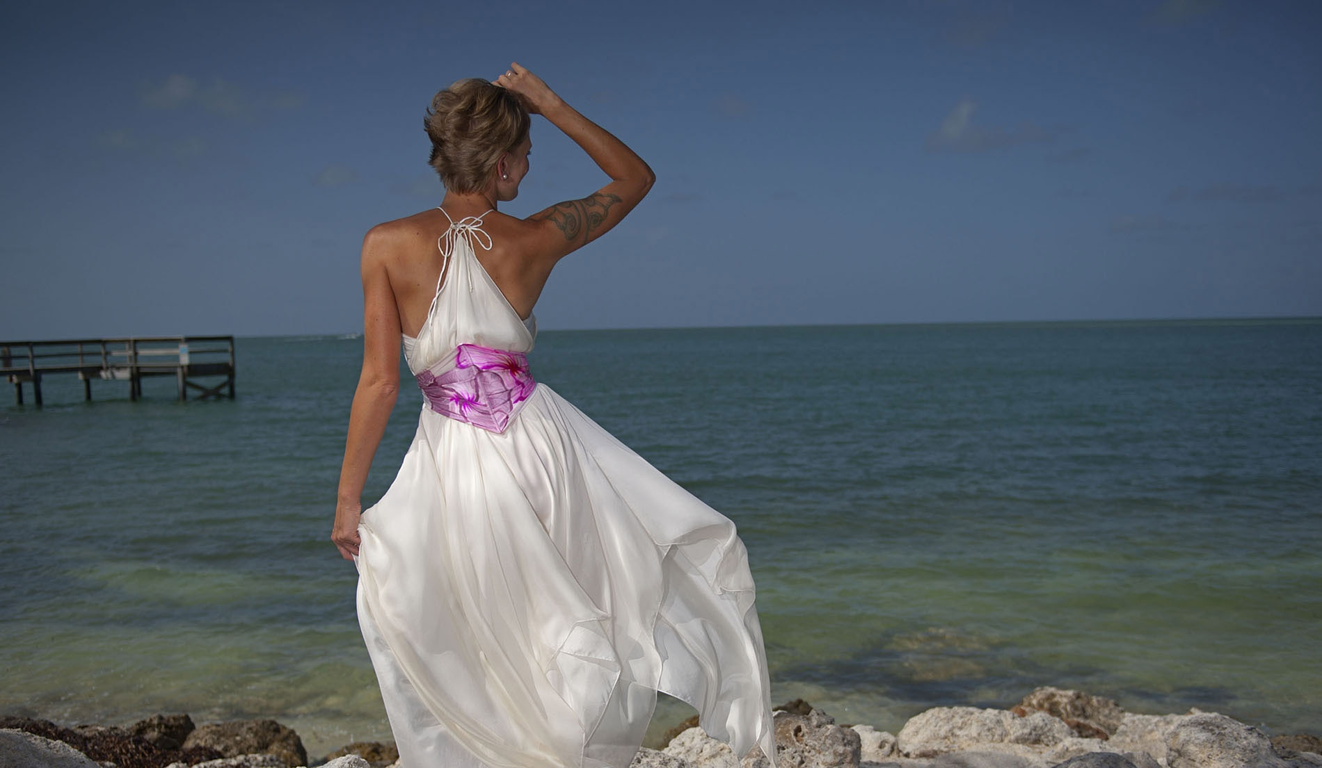 Empire Waist Custom Second Marriage Wedding Dresses Beach - Look 5 back