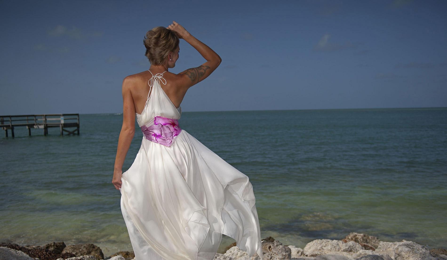 Empire Waist Custom Second Marriage Wedding Dresses Beach Look 5 Back