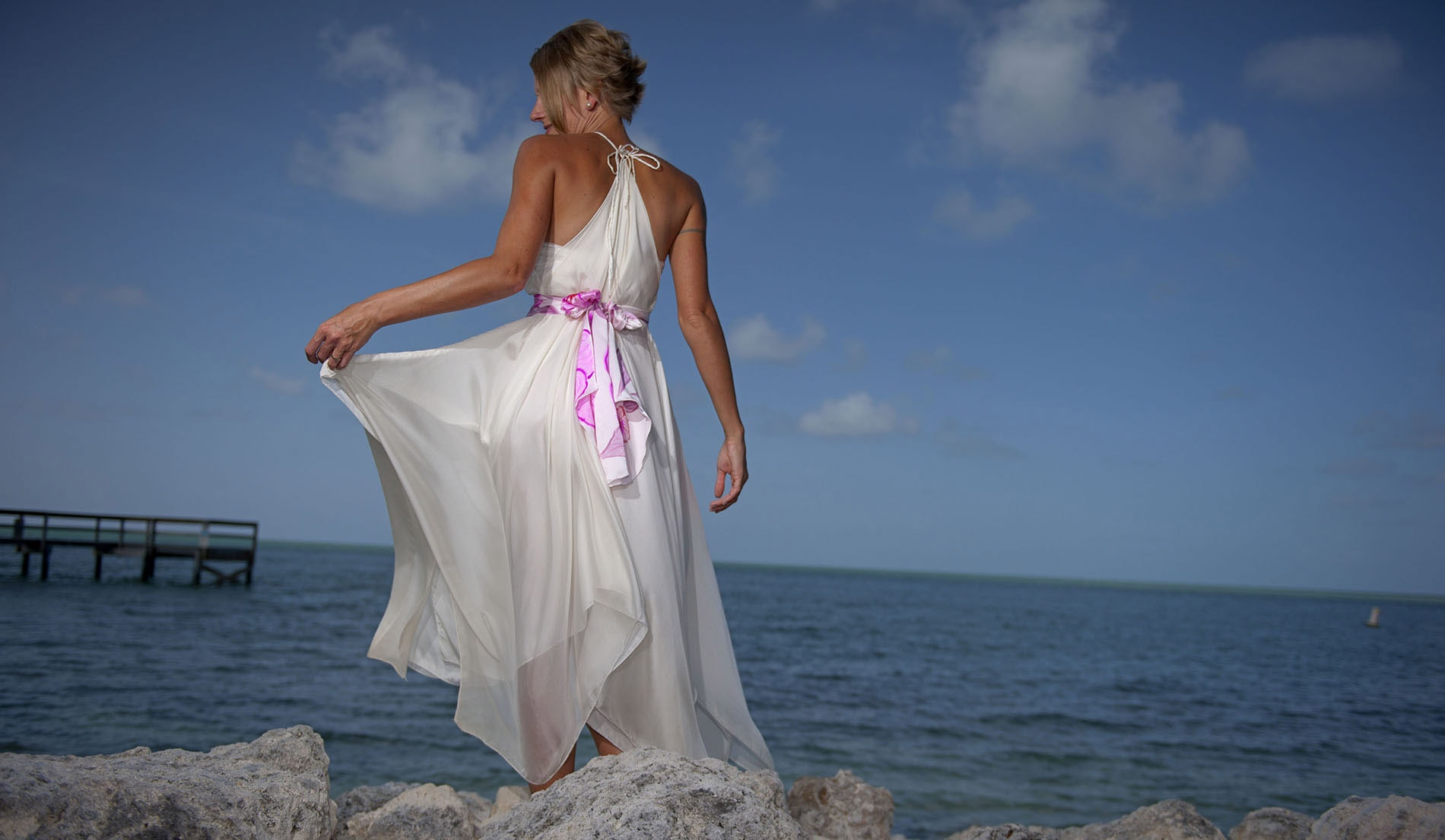 Natural Waist Second Marriage Wedding Dresses Beach - Look 6 back