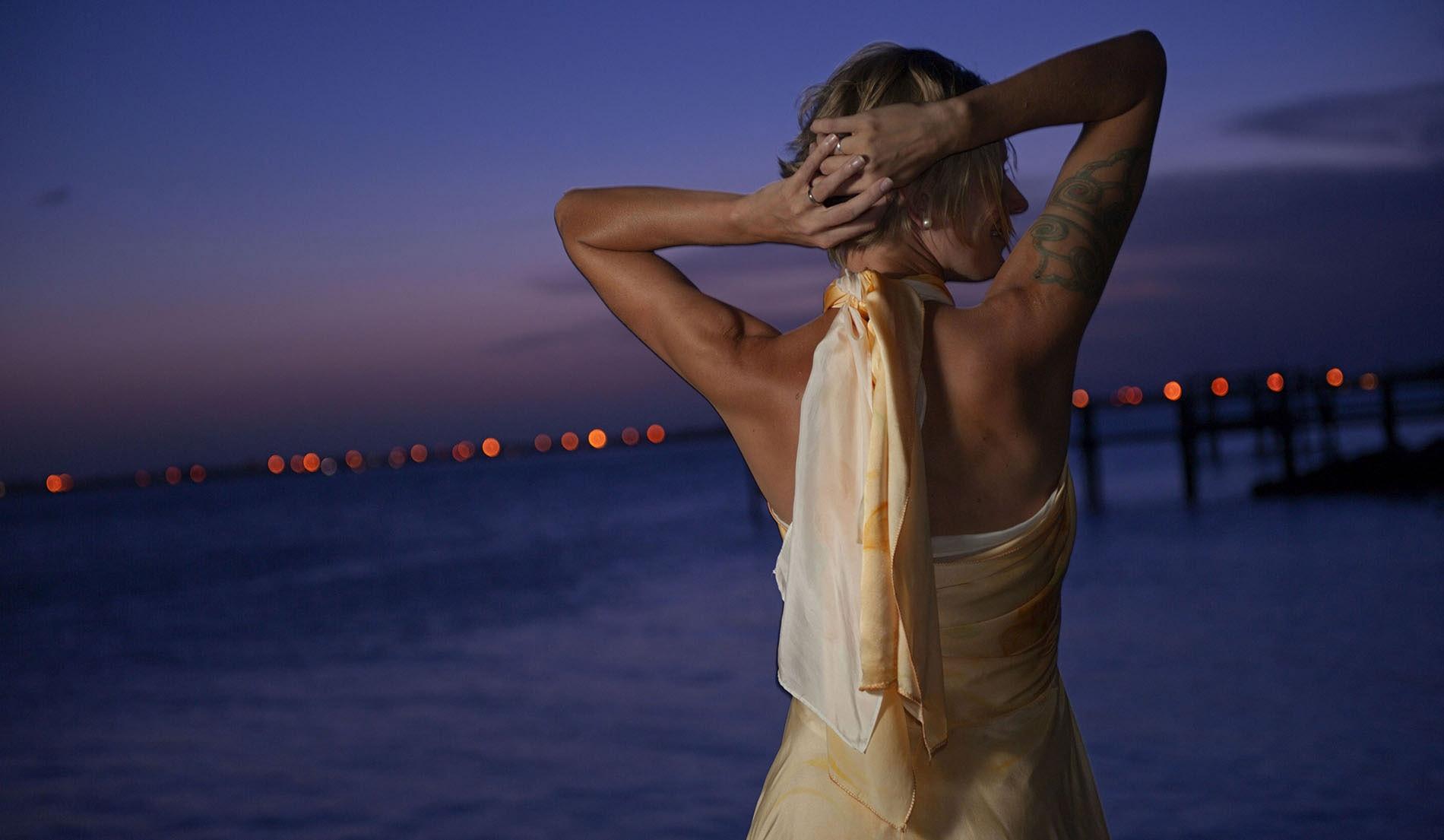 Criss-Cross Halter Beach Inspired Wedding Dresses - look 6 back
