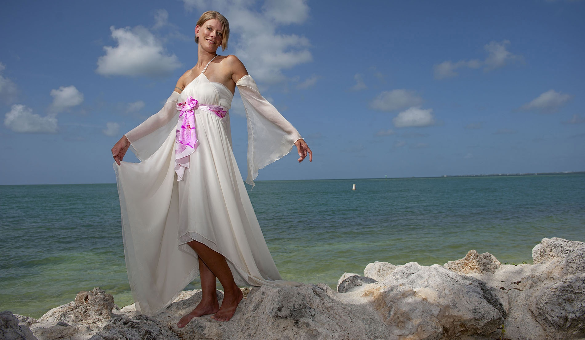 Empire Bell Sleeves Second Marriage Wedding Dresses Beach - Look 7 Front