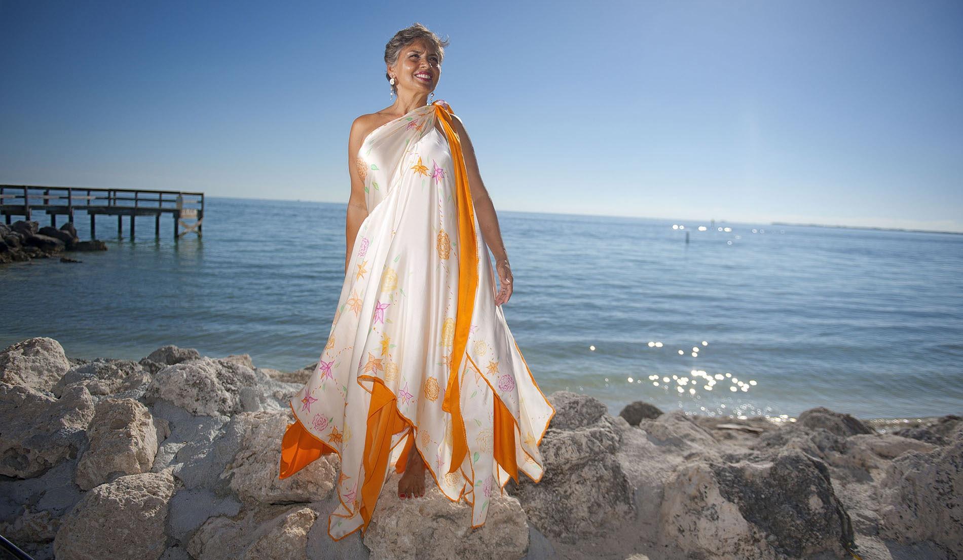 Handprinted Beach Inspired Wedding Dresses - look 7 front