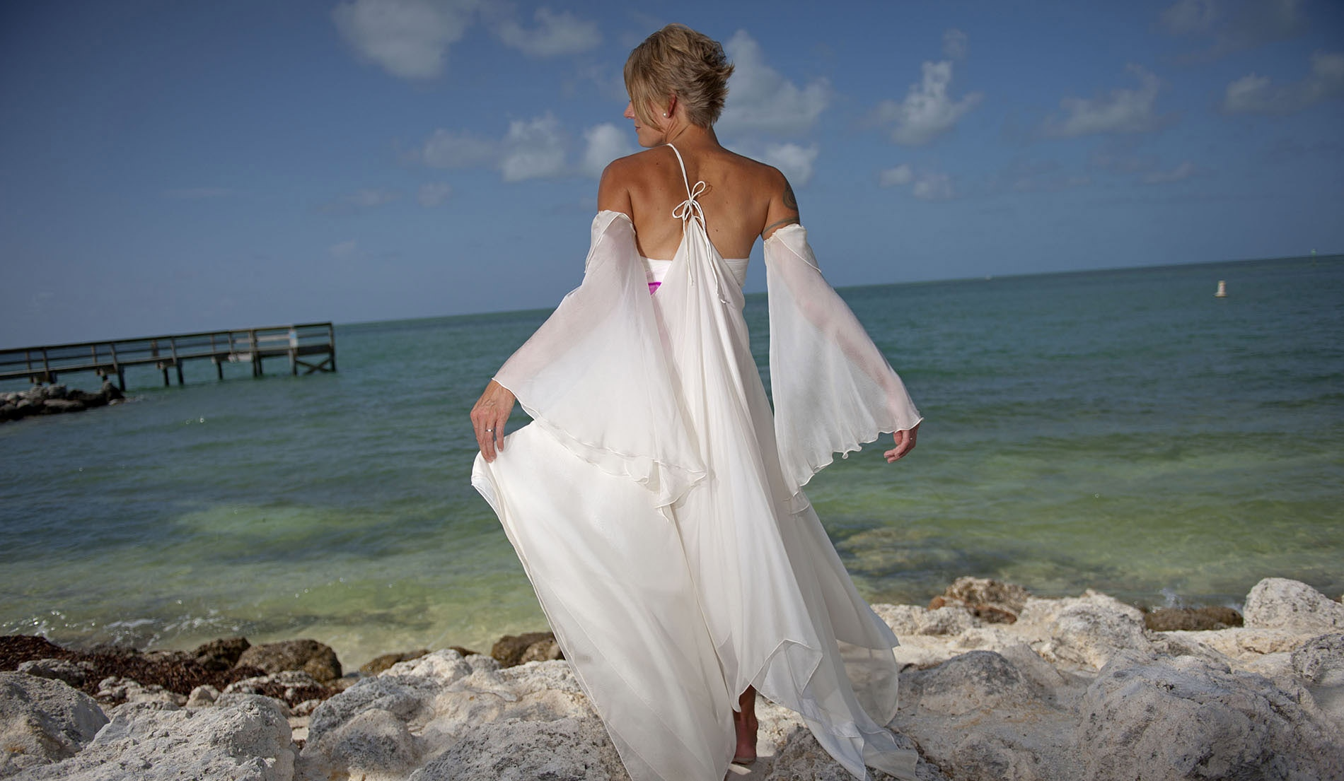 Empire Bell Sleeves Second Marriage Wedding Dresses Beach - Look 7 Back