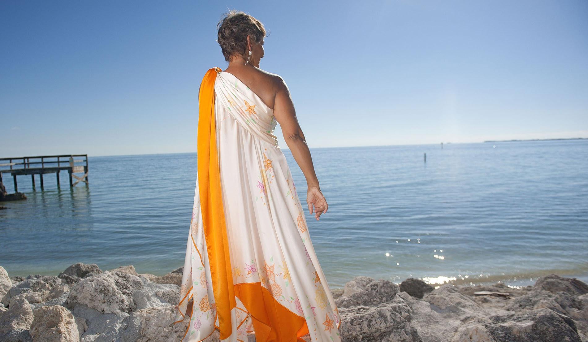 Handprinted Beach Inspired Wedding Dresses - look 7 back