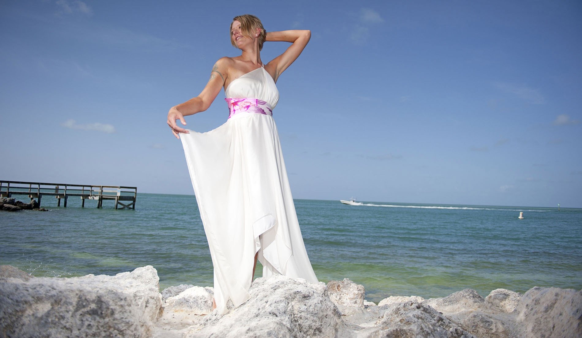 Asymmetrical Sash Second Marriage Weeding Dresses Beach - Veronica - Look 8 front