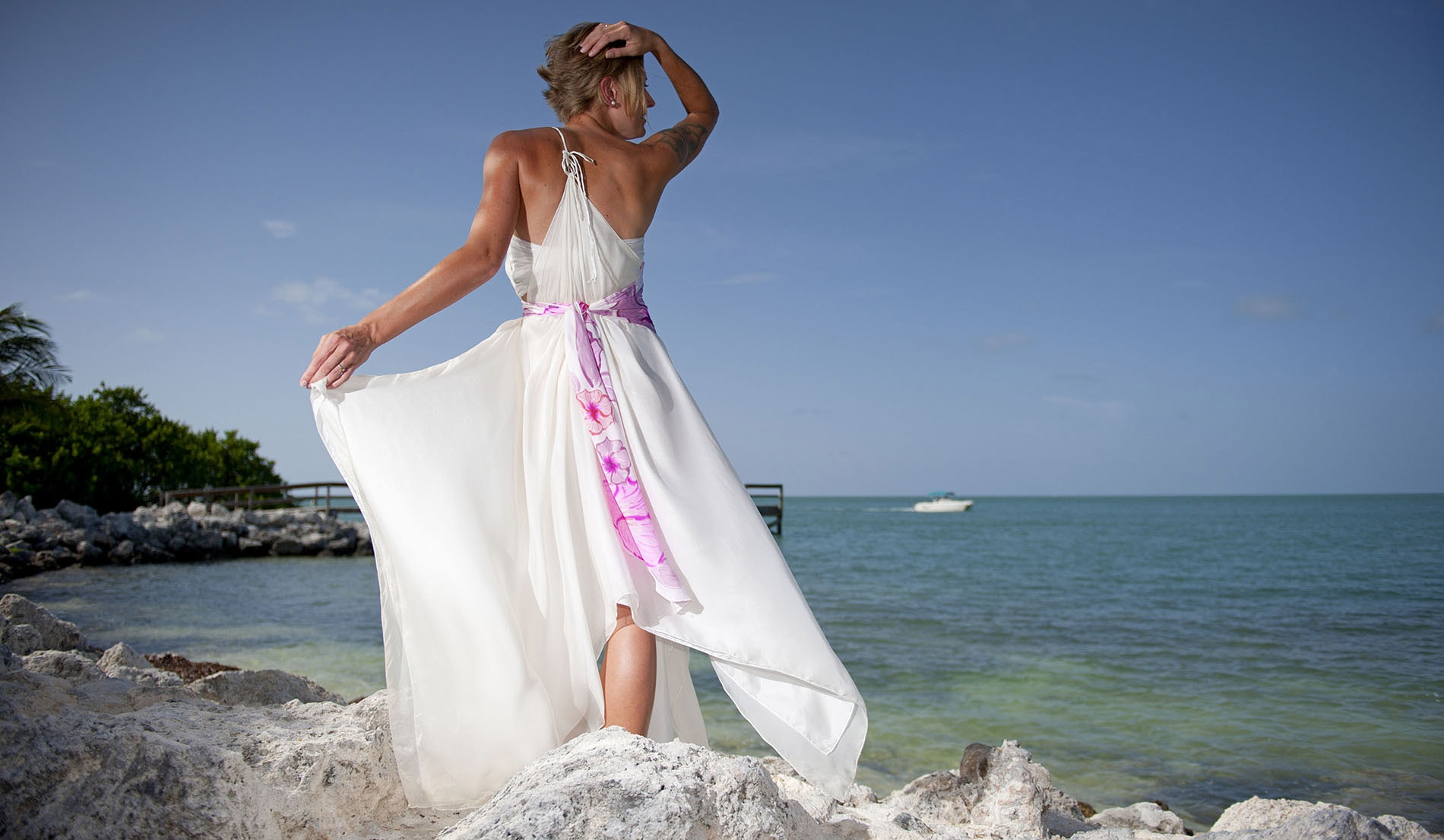 Asymmetrical Sash Second Marriage Weeding Dresses Beach - Veronica - Look 8 back