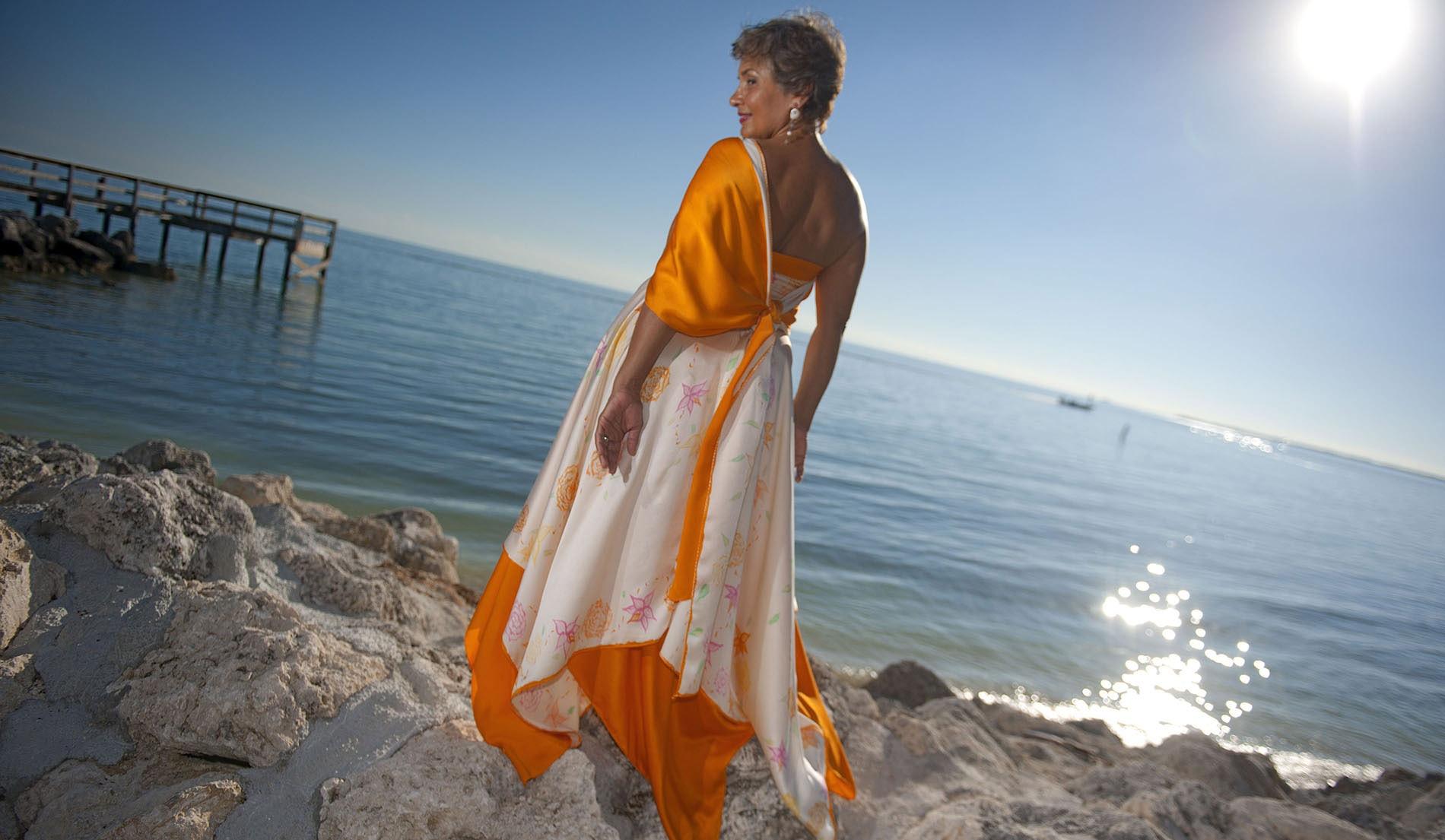 Asymmetric Beach Inspired Weeding Dresses - look 8 back