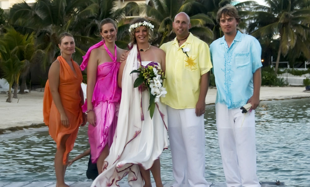 Tara Stevens Belize Beach Wedding in her Jasmine Sky Designs Original