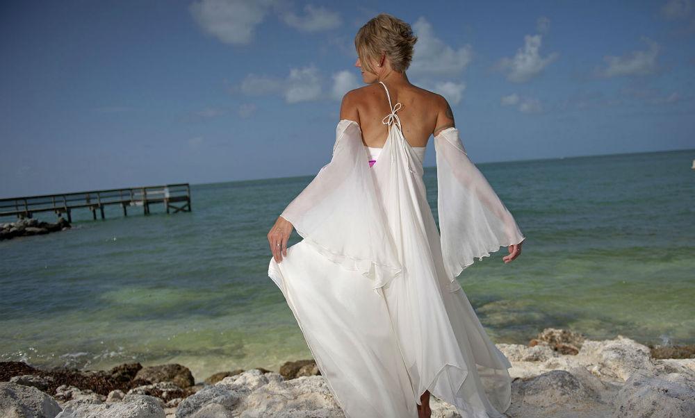 White Silk Wedding Dress Veronica