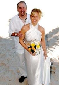 white silk island wedding dress