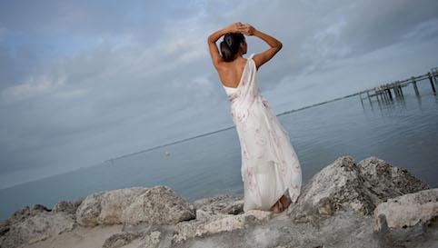 beach wedding silk bridesmaid dress