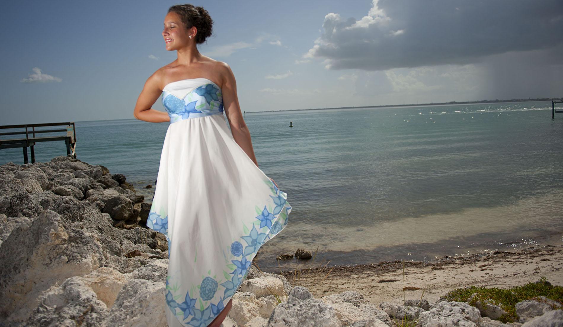 Beach Wedding Dress For Second Time Bride Train & Veil